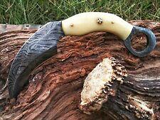 BEAUTIFUL HAND MADE DAMASCUS STEEL HUNTING KNIFE KARAMBIT BONE HANDLE