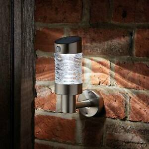 Solar LED PIR Motion Sensor Security Wall Fence Light Stainless Steel | Outdoor