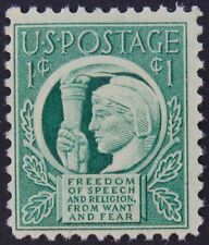Stamp US, Cat. #908, 1c Four Freedoms, (1943), Mint NH/OG