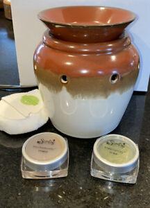 "Scentsy Wax Warmer ""DELTA"" Brown Earthy Ceramic MELTING POT 2 Free Wax & Cotton"