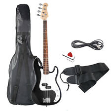 Black Full Size 4 String Electric Bass Guitar with Strap Guitar Bag Amp Cord New