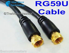 Black 50 ft RG59U Coaxial Digital Video Cable HD TV Satellite Antenna Wire VWLTW
