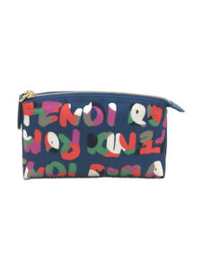 FENDI Pouch Zip ROMA Print Total Pattern Navy Color Accessory from Japan Used