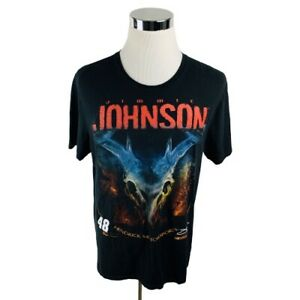 Jimmie Johnson #48 NASCAR Black Short Sleeve Shirt Men's Large L