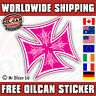 IRON CROSS car sticker pink old school pinstriped 85mm
