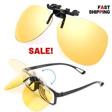9573323ba1e Yellow Night Vision Retro Polarized Clip-on Flip-up Aviator Plastic  Sunglasses Driving Traveling