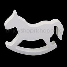 White Wooden Craft Small Rocking Horse Wedding Home Table Decor Kids Toy
