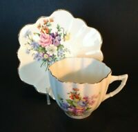 Consort Teacup And Saucer - Pansy & Garden Flowers - Scalloped Rims - England