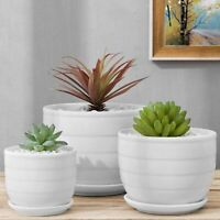 MyGift Set of 3 White Glazed Ceramic Ribbed Textured Pots with Attached Saucers