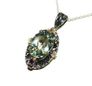 "Le Vian Ziba Silver 6.10CT Greened Amethyst 0.02CT Diamond Pendant 24"" chain"