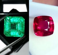 Loose Gemstone Emerald & Ruby Natural 8 to 10 cts Mixed Certified Pair