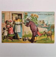 Antique Victorian Trade Card Domestic Sewing Machines Saco Maine Black Americana