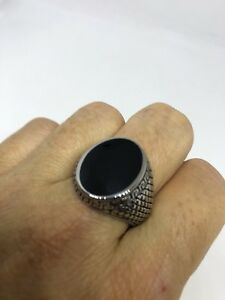 Vintage Silver Stainless Steel Size 10.75 Men's Genuine Black Onyx Ring