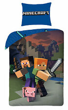 Minecraft Set Housse de couette Simple Réversible 100 Cotton Enfants Garçons