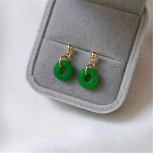 Fashion Big round Green Agate Gold Earrings Wedding Accessories Diy