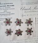 6 Antique Vintage Silver Metallic Bullion Star Spangle Original Paper Applique