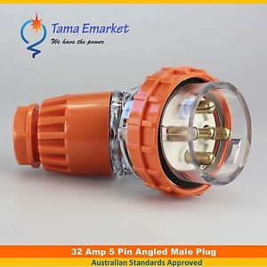 32 Amp Angled Male Plug 5 Pin 3 Phase 32A Industrial Electrical