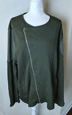 ASOS Women's Moto Jacket Sz XXL 2X Green Knit Asymmetrical Zipper Plus