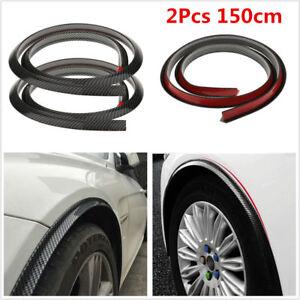 2Pcs Carbon Fiber Car Wheel Eyebrow Arch Trim Lips Strips Fender Flare Protector