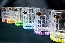 Tumbler set of 6 Crystal Glass Whiskey Vodka Rock 10oz Bohemia Czech Multicolor