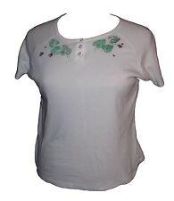 Karen Scott Sport white PL petite top shirt handpainted short sleeve