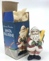"NIB VINTAGE CHRISTMAS SANTA CLAUS FIGURINE HAND MADE MINT PORCELAIN 4"" XMAS"