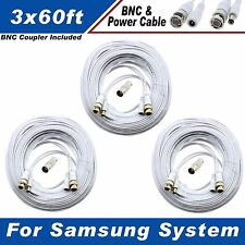 WHITE PREMIUM 180FT BNC CABLE FOR 16 CH SAMSUNG SYSTEMS SDS-5101 SDS-5102