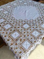 """Vintage Fait à La Main Lourd Crochet Dentelle Nappe 42"""" Square-parfait état"""