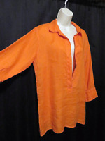 CP Shades Linen Tunic Top Bright Orange Long Sleeve Layering Size S Small