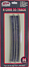 "Atlas N Scale Code 55 Track Section - 30.609"" Radius #5 Turnout Reverse Curve"