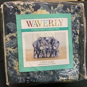 ✅ SUREFIT WAVERLY SLIPCOVER 1 Piece Chair Ballad Bouquet In Indigo