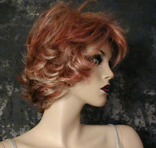 GINGER BLONDE STREAKED Highlighted Mix Spikey WIG WIGS MODERN