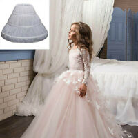 Kids Child Girls' 3 Hoops Petticoat Full Slip Flower Princess Crinoline Skirt UK