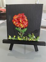 Original Oil Painting On Canvas (Lone Rose Decoration) 3x3