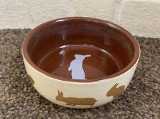 Trixie Rabbit Bowl Food/water Ceramic Pet Bowl Brown Rabbit Pattern