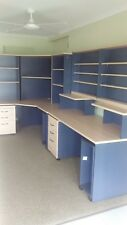 Corner Workstation Office Desk with Shelves, CD Wall unit, Mobile Draws. PC Bins