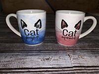 His And Hers Pair Of Cat Mugs Cat Mama, Cat Papa.