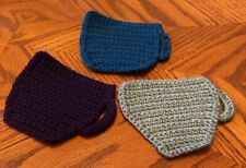 Multi-color handmade crocheted coasters