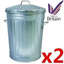 2 x METAL Galvanised bin 95 litre for rubbish dustbin animal feed storage UK MAD