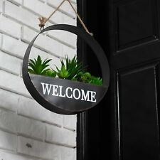 Glitzhome Metal Hanging Welcome Succulent Plant Planter Spring Garden Holder New