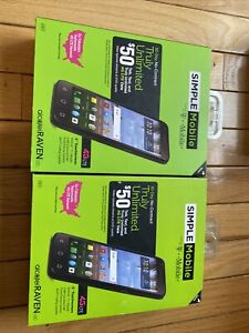 """LOT OF 2 SEALED Simple Mobile T-Mobile Alcatel Raven Prepaid Phone 5"""" 4G LTE"""