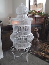 Vtg Antique Iron Bird Cage White 1960s Rare Architechtural Victorian Dome House