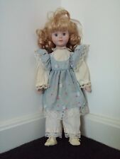 """Cute Blonde Blue Girl Doll 17"""", American Blond Cloth Eye Floral Hair Lace Outfit"""