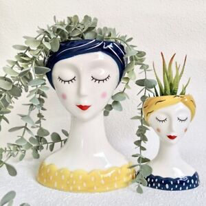 Blue Yellow Girl Face Head Ceramic Pot Planter
