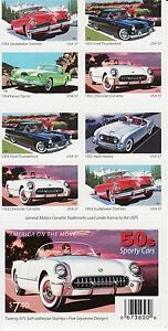 AMERICA ON THE MOVE STAMP BOOKLET -- USA #3931-3935B 37 CENT  CARS AUTOMOBILES