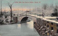 Peoria Il~Concrete & Arch Footbridges~Snow in the Dead of Winter c1910 Postcard