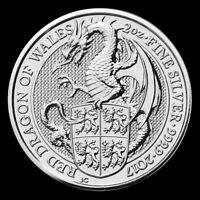 2017 2 oz Queen's Beast Red Dragon of Wales 999.9 Silver BU Coin from Mint Roll