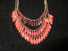 Charles Klein NWT Statement Necklace Gold Tone Beaded Jeweled Bright Pink layer