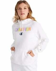 Champion Women's Hoodie Sweatshirt Pop Color Logo Athletics Powerblend Midweight