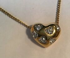 Shaped Pendant Necklace Jewelry Vintage Gorgeous Crystal Goldtone Heart